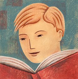 Illustration of boy reading